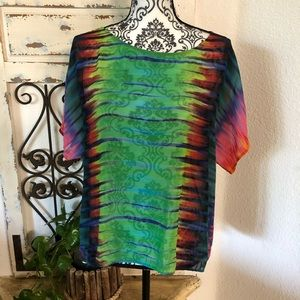 Vince camuto rainbow watercolor striped sheer top